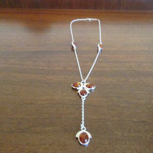 Sterling Silver Cognac Amber Necklace
